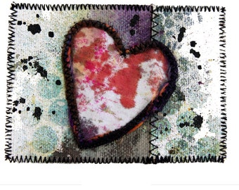 Mixed Media ACEO Art Card - Heart Painted Canvas