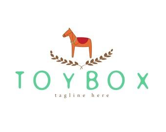 Modern Logo design, customizable Pre-made mint orange horse