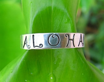 Aloha Ring, Sterling Silver Band, Hand Stamped, Hawaii, Minimilist, Handmade Hawaiian Jewelry, Love, Anniversary Gift, Personalized Rings