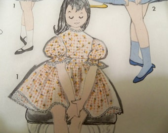 1960 Size 6 Sew Easy Pattern 9568 by Advance Girls Dress Apron Party Dress Sewing Pattern Supply Girls Apron Pattern Girls Dress Pattern ff