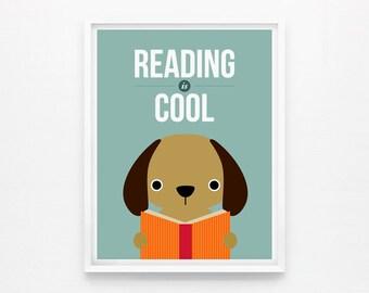 Reading is Cool, Children Decor, Playroom Art, Nursery Wall Art, Classroom Decor