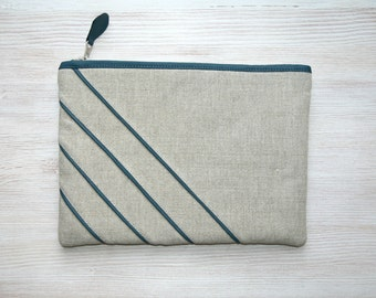 Teal leather and Linen unique clutch bag Cosmetic bag Gadget case Stripe