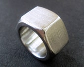 Hexagonal nut ring, size 7 stainless steel band, modern industrial hardware jewelry