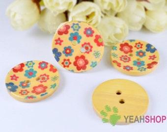 30mm Floral Wooden Round Concave Buttons - 5 PCS (WBT30-33)
