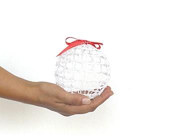 Transparent lace Crochet Christmas balls, rustic Christmas decor, Lace snow white ball, Christmas tree decor, christmas tree bauble ornament