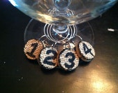 Cork Wine Charms Numbered Burplap topped Drink Rings Tags Upcycled and Repurposed