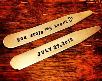 The Day We Met Collar Stays - You Stole My Heart - Groom's Gift - Special Wedding Day Gift - Father's Day Gift