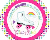 RAINBOW ROLLERSKATE favor tags - YOU Print