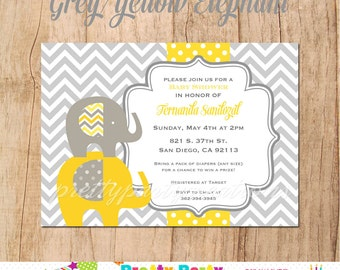 GREY and YELLOW ELEPHANT Baby Shower invitation - You Print