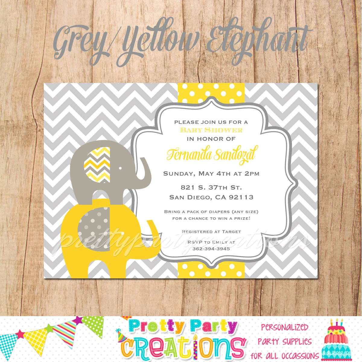 Gray And Yellow Baby Shower Invitations Part - 36: ?zoom