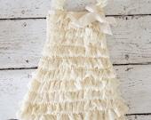 Lace Flower Girl Dress - Ivory Flower Girls Dress -Baptism dress - Baby Dress -Cream Girls Lace dress - Ruffle Dress - Petti romper dress