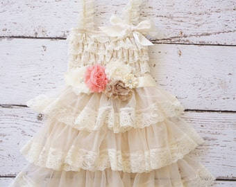 Flower Girl Dress - Lace Flower girl dress - Baby Lace Dress - coral- Country Flower Girl - Lace Dress - Ivory Lace dress -  Bridesmaid