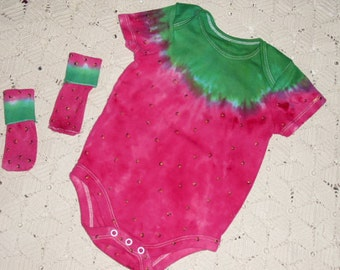 """Tie dye STRAWBERRY bodysuits and matching socks -  """"Strawberry Delight"""" - Instant HALLOWEEN COSTUME  (Take a look at this one up-close)  300"""