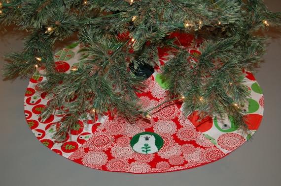 Polar bear christmas tree skirt red holiday decor bear christmas