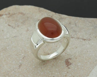carnelian cabochon sterling silver ring