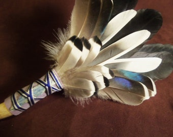 Smudge Fan- Higher Vibrations - Sacred Prayer Fan with a Blue Kyanite Crystal and Drift Branch Handle