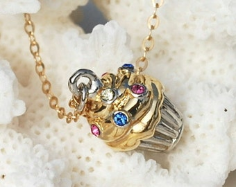 Cupcake Necklace ~ Cupcake Gifts ~ Swarovski Crystal ~ 14k Gold Filled or Sterling Silver Chain ~ Gifts for Bakers ~ Cupcake Lover