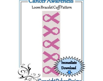 Bead Pattern Loom(Bracelet Cuff)-Cancer Awareness