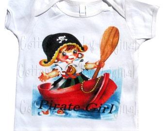 Vintage childrens tshirt tank or onesie Pirate girl...Treasure Worthy..