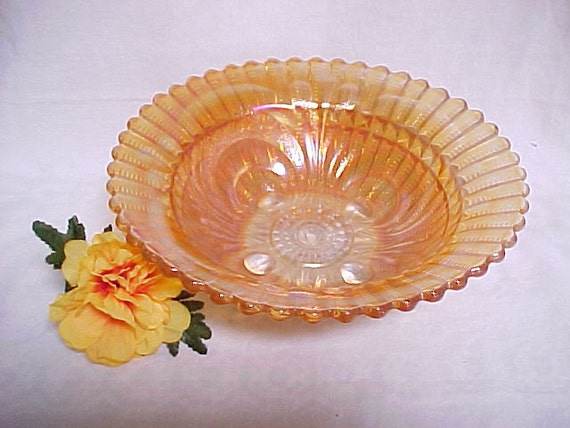 Antique Imperial Carnival Glass Bowl, Marigold Scroll Embossed with File Exterior Bowl, Vintage Colored Glassware, Collectible Home Decor