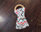 Wooden Teething Ring, chew toy, teether, baby toy, wooden ring, unisex chevron