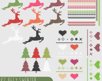 Ugly Christmas Sweater Clipart, .PNG files Royalty Free, Instant Download