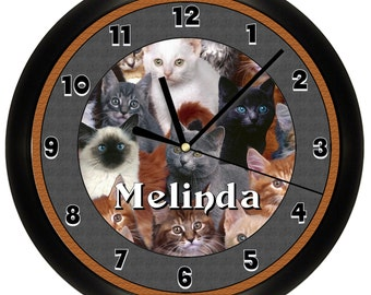Personalized Cat Wall Clock Kitty