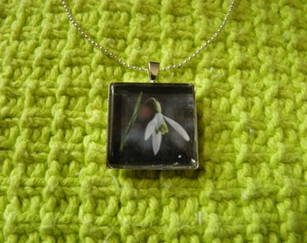 Square Glass Snowdrop Necklace