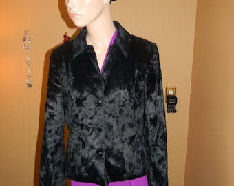 GIANNI Black  persian Dress coat.Vintage Crystal Buttons waist length Ladies Jacket.FAUX Karakul fur.1940s fashion