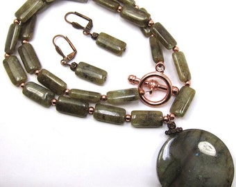 Labradorite Necklace Earrings Combo, Gemstone and Copper Necklace and Earring Set