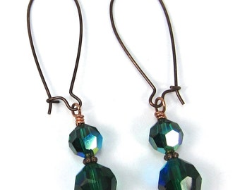 Green Earrings Swarovski Crystal Emerald and Copper May Birthstone