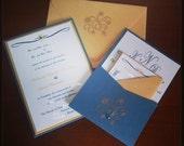Green and Gold Snowflake Panel Pocket Wedding Invitations