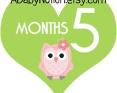 Heart shaped owl monthly iron on or sticker decal transfer pink lime green baby girl shower nursery