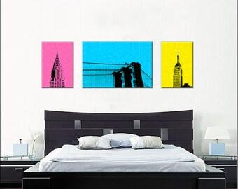 NYC Pop Art Wall Display, New York City, Colorful, Bright, Empire State Building, Brooklyn Bridge, Chrysler Building, Canvas, Aluminum
