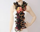 SALE WAS 25 USD -  Ruffle scarf ,scarf,wool/ acrilyc blend  yarn crochet scarf