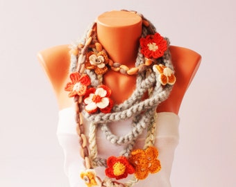 Boho crochet lariat scarf ,long lariat scarf