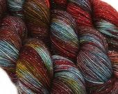 DESTINATIONS glitter sock yarn BERLIN hand dyed sw merino nylon stellina 3.5oz 435 yards