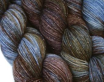 glitter sock yarn SLUMBER hand dyed fingering weight superwash merino nylon stellina 3.5oz 435 yards