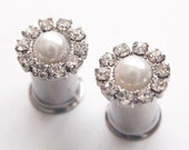 0g 8mm 2g 6mm 4g 5mm Flowery Pearl  Rhinestone 316L Surgical Stainless Steel Double Flared Plugs for Stretched Ears-  Tunnels Gauges