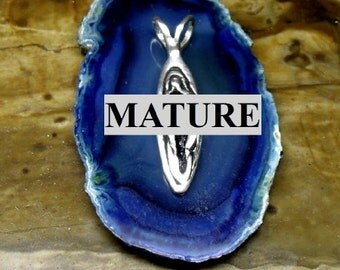 Mature Big Vagina Pendant  Solid Sterling Silver Free Domestic Shipping