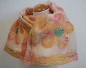 Hand Dyed, Nuno Felt Scarf on Cotton, Flowers in Peach, Tangerine, Golden Yellow, Pink and Jade