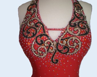 Red Dance  Latin Dress  with Gold/Black Lace     Red Dance Dresses    Red  Tango Dresses
