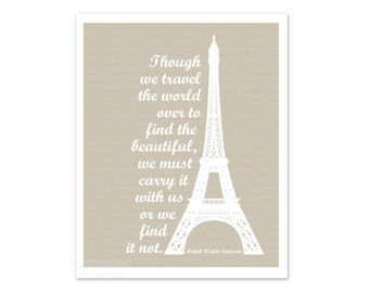 Travel Inspired Print France Beautiful World Emerson Travel Holiday Vacation Eiffel Tower Inspirational French Script Art - Pale Beige White