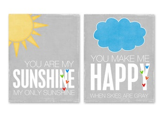 Childrens Print, Typography Poster, Digital Print, Kids Wall Art You are My Sunshine Digital Poster Duo Rainbow Gray