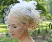 Bridal Headpiece Birdcage Veil of White Veil and White Marabou Feathers with a Vintage Silver Crystal Rhinestone Brooch, Wedding, (BCV0001)