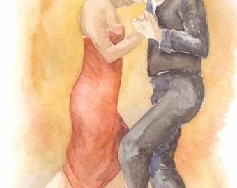 Original Signed Watercolor of Couple Dancing