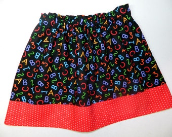 Back to school girl, toddler, tween red, yellow, blue, black, green alphabet  and red dot skirt NB - 16