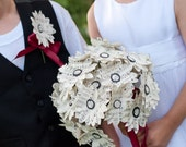Music or Book Page Paper Daisy Bouquet and Boutonniere Set
