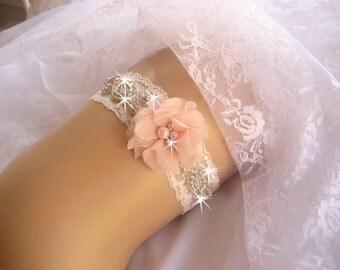 Prom Garter / Blush Garter / Crystal Garter / Toss Garter / Garter Belt / Garder / Ivory Garter / lace garter