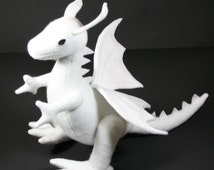 Snow Dragon Plush, White Stuffed Dragon, Fantasy Plush, Handcrafted Eco Friendly Toy, Animals, Kids Gift, Wyvern, Customizable